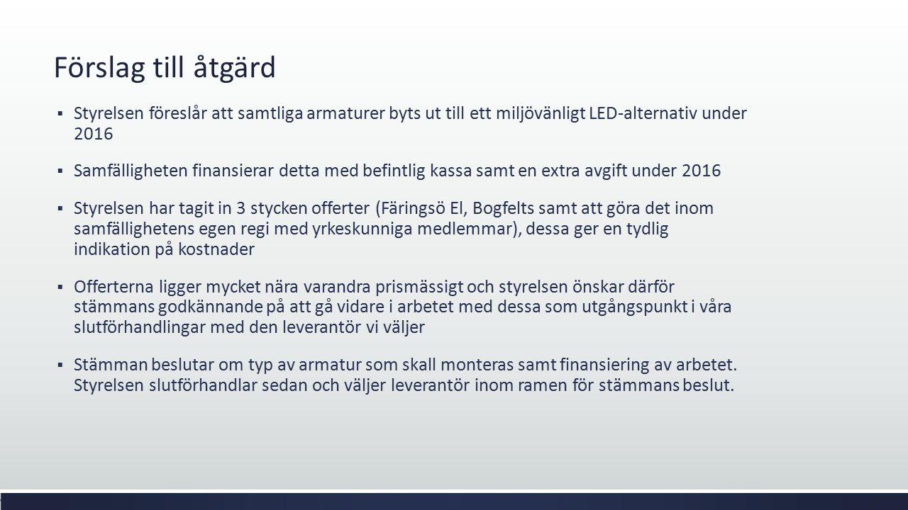 Förslag till åtgärd  Styrelsen föreslår att samtliga armaturer byts ut till ett miljövänligt LED-alternativ under 2016  Samfälligheten finansierar d