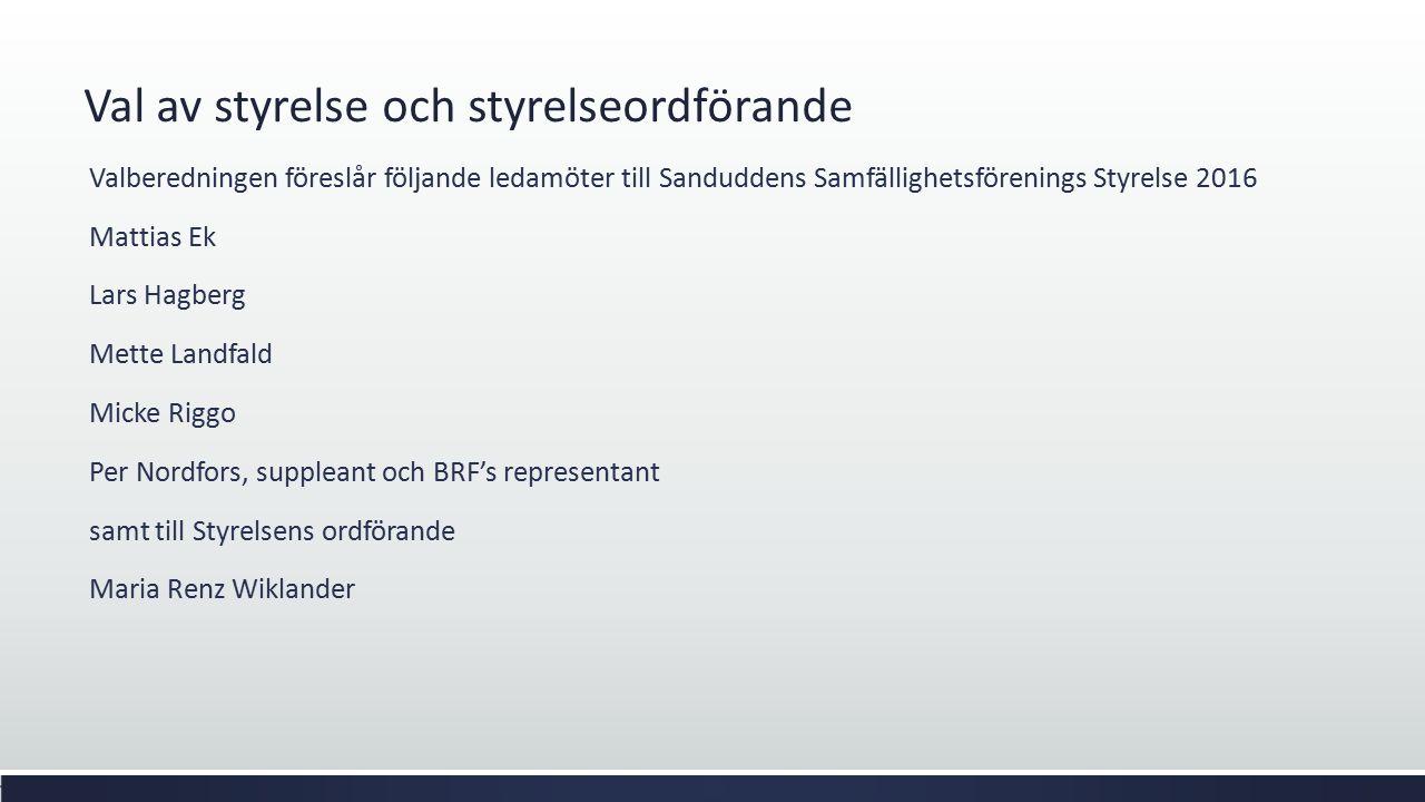 Val av styrelse och styrelseordförande Valberedningen föreslår följande ledamöter till Sanduddens Samfällighetsförenings Styrelse 2016 Mattias Ek Lars