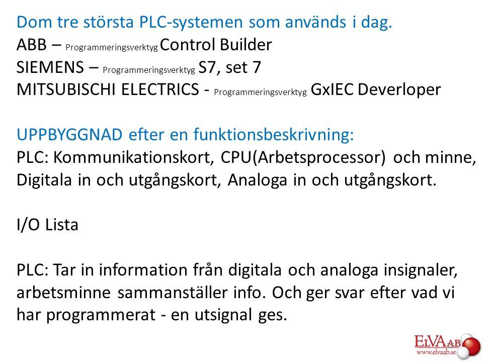 Dom tre största PLC-systemen som används i dag. ABB – Programmeringsverktyg Control Builder SIEMENS – Programmeringsverktyg S7, set 7 MITSUBISCHI ELEC