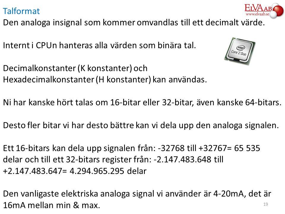 Talformat Den analoga insignal som kommer omvandlas till ett decimalt värde. Internt i CPUn hanteras alla värden som binära tal. Decimalkonstanter (K