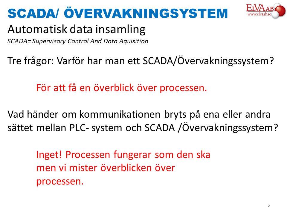 SCADA/ ÖVERVAKNINGSYSTEM Automatisk data insamling SCADA= Supervisory Control And Data Aquisition Tre frågor: Varför har man ett SCADA/Övervakningssys