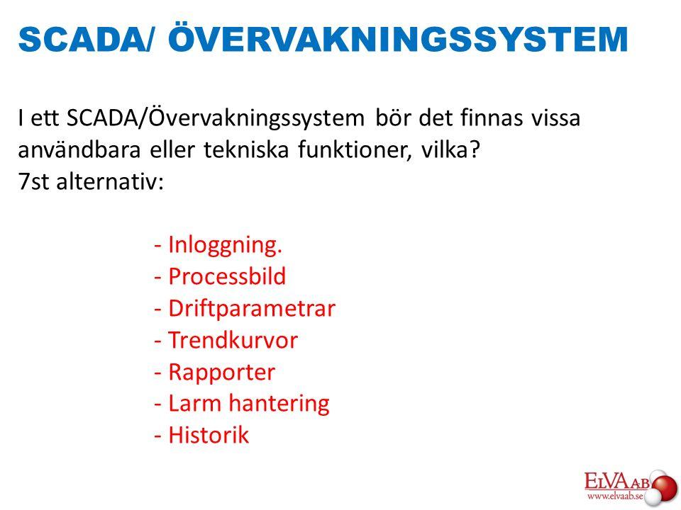 SCADA/ ÖVERVAKNINGSSYSTEM I ett SCADA/Övervakningssystem bör det finnas vissa användbara eller tekniska funktioner, vilka? 7st alternativ: - Inloggnin