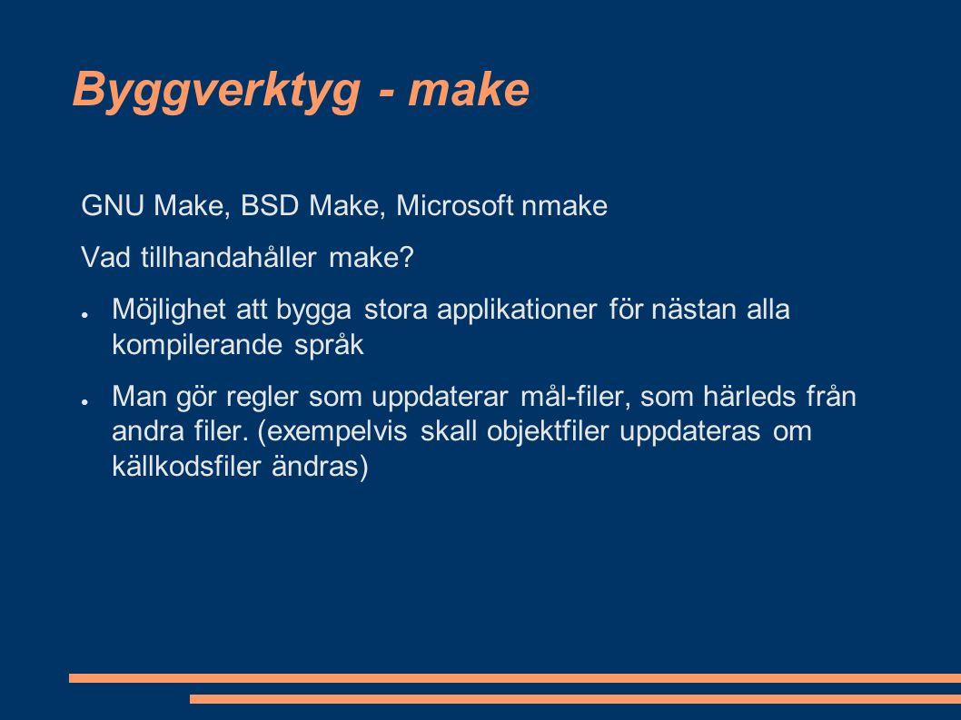 Byggverktyg - jämförelse Ant (+) ● build.xml oberoende av OS ● Enkelt att utöka med egna tasks ● bygger de flesta språk Ant (-) ● Kräver att java är installerad på maskinen ● build.xml blir lätt stor ● stödjer inte flera projekt som är beroende av varandra bra