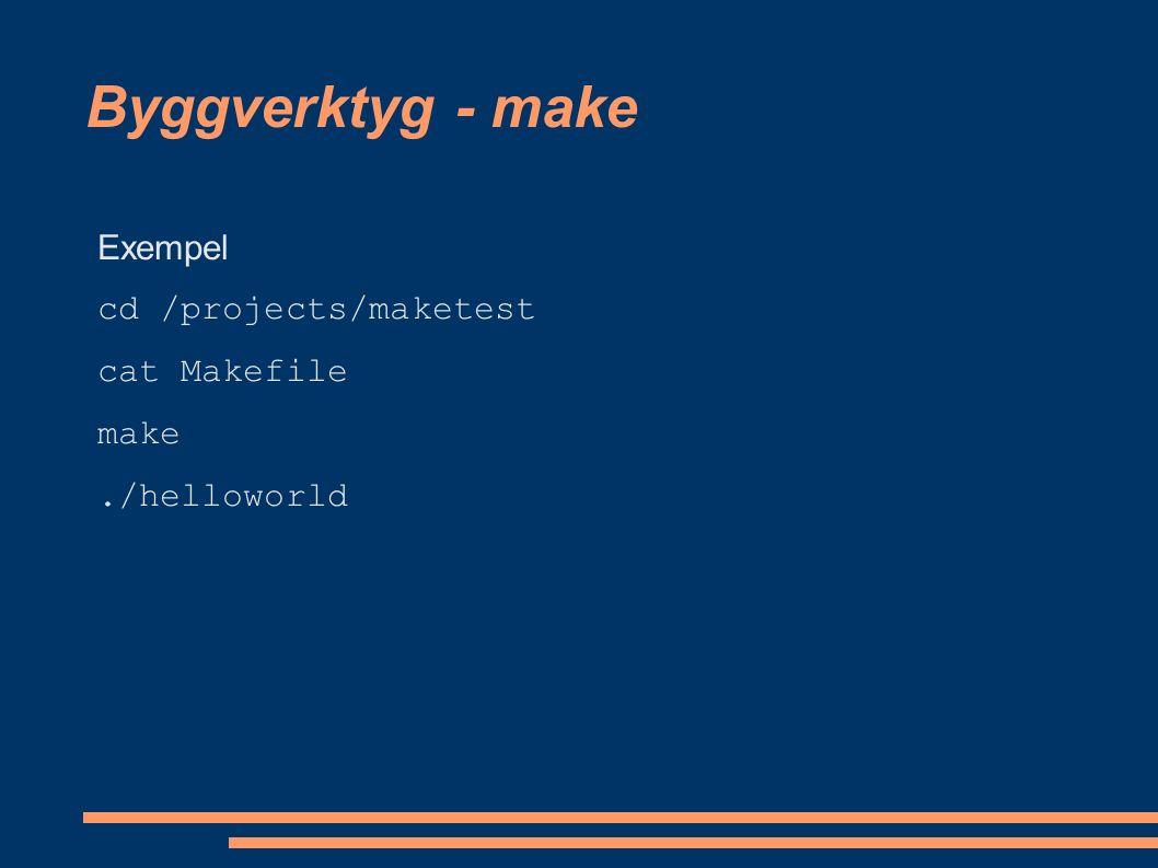 Byggverktyg - referenser Hemsidor för de olika projekten: http://www.gnu.org/software/make/ http://ant.apache.org/ http://maven.apache.org/ Problem med make: http://freshmeat.net/articles/view/1702/