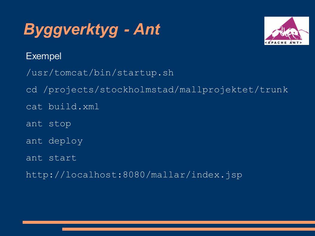 Template engines - Velocity Exempel cd /usr/velocity-1.5-beta1/examples/app_example1 cat example.vm cat Example.java./example.sh