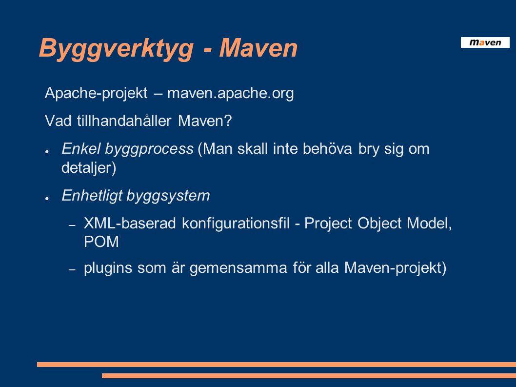 Byggverktyg - Maven ● Aktuell projektinformation (site!) – förändringsloggar från v-hanteringssystemet – javadoc – xref till källkoden – maillistor till användare – listor över beroenden – rapporter över enhetstester (inklusive code coverage)