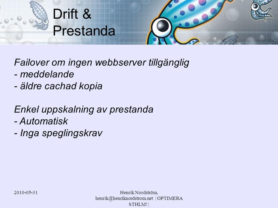 2010-05-31Henrik Nordström, henrik@henriknordstrom.net | OPTIMERA STHLM! | Failover om ingen webbserver tillgänglig - meddelande - äldre cachad kopia