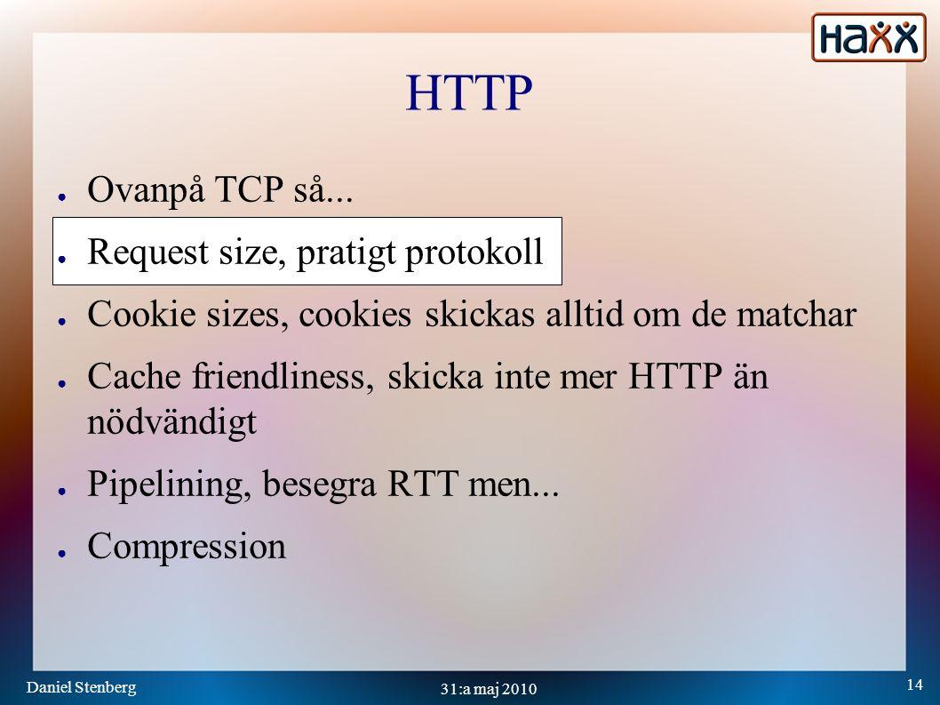 Daniel Stenberg 14 31:a maj 2010 HTTP ● Ovanpå TCP så...