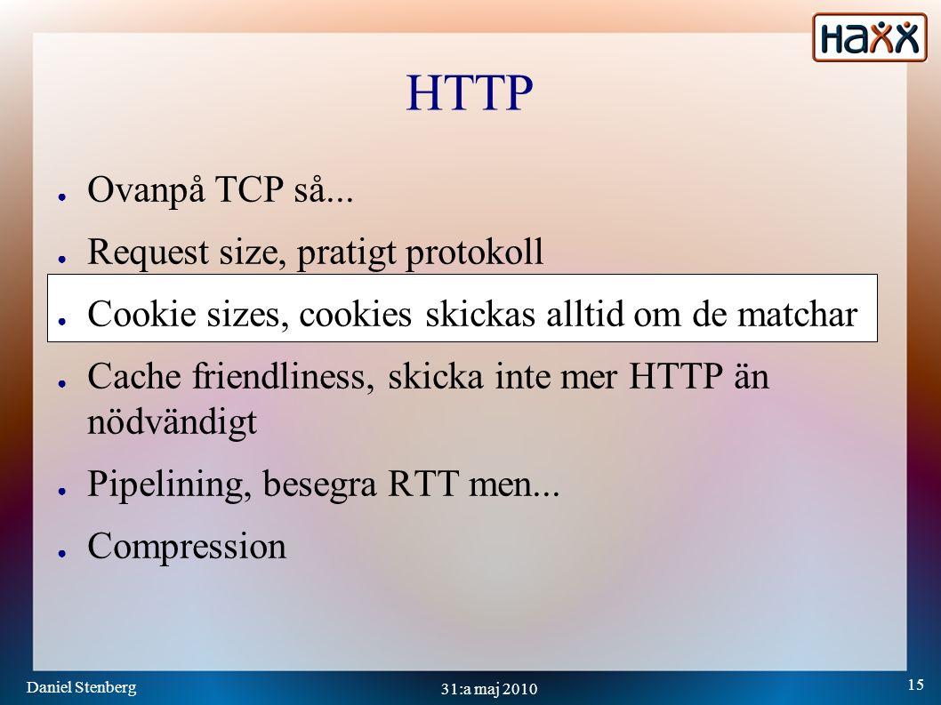 Daniel Stenberg 15 31:a maj 2010 HTTP ● Ovanpå TCP så...