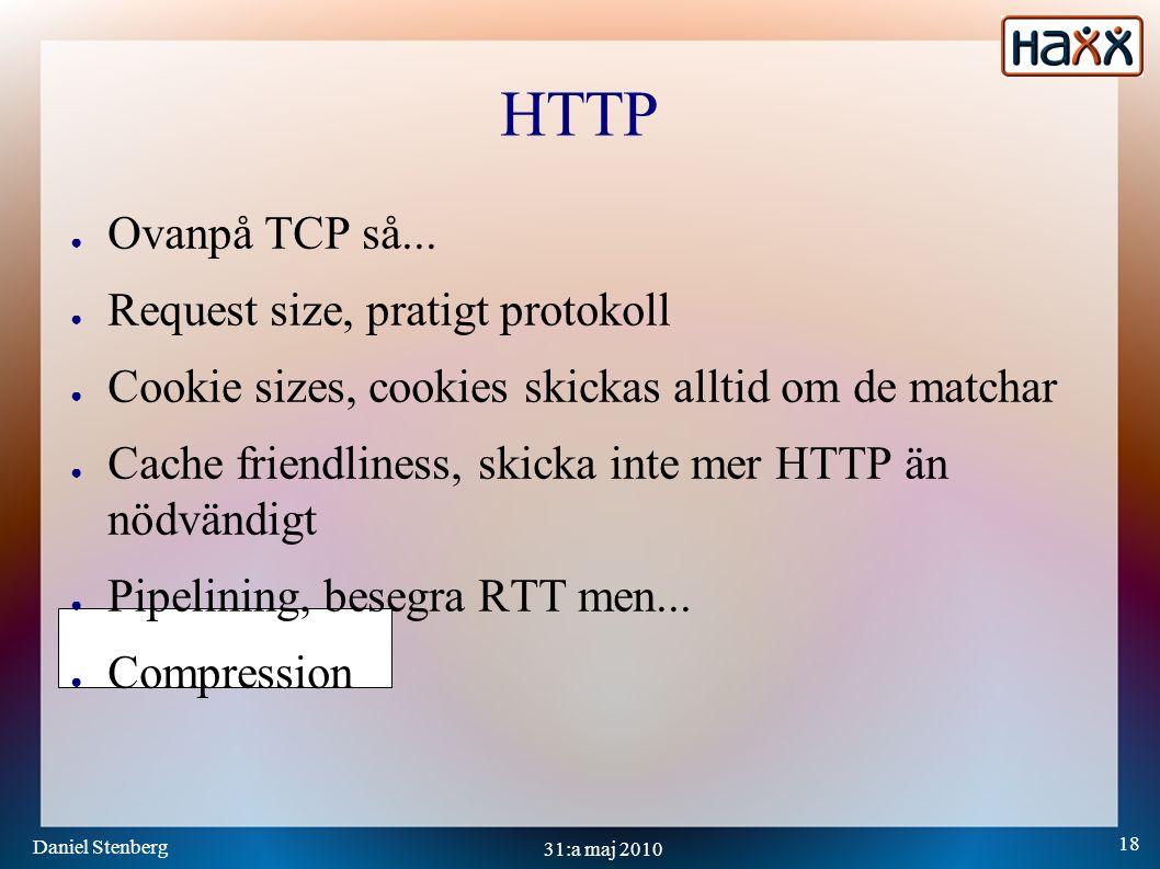 Daniel Stenberg 18 31:a maj 2010 HTTP ● Ovanpå TCP så...