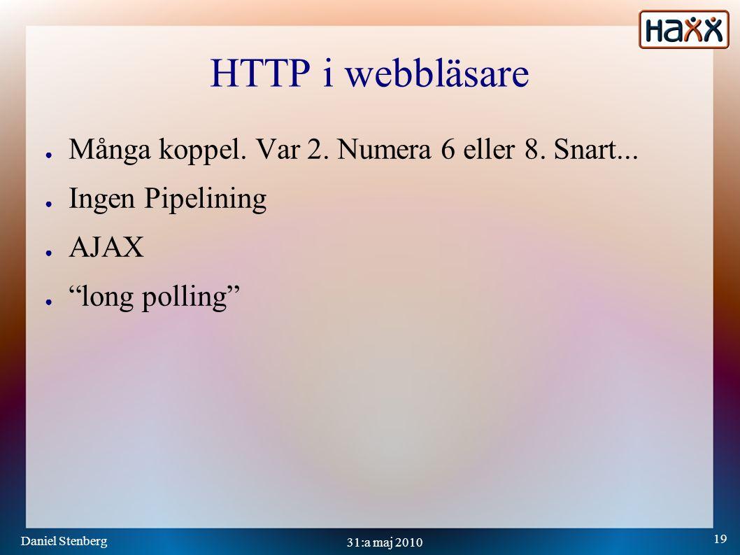 Daniel Stenberg 19 31:a maj 2010 HTTP i webbläsare ● Många koppel.