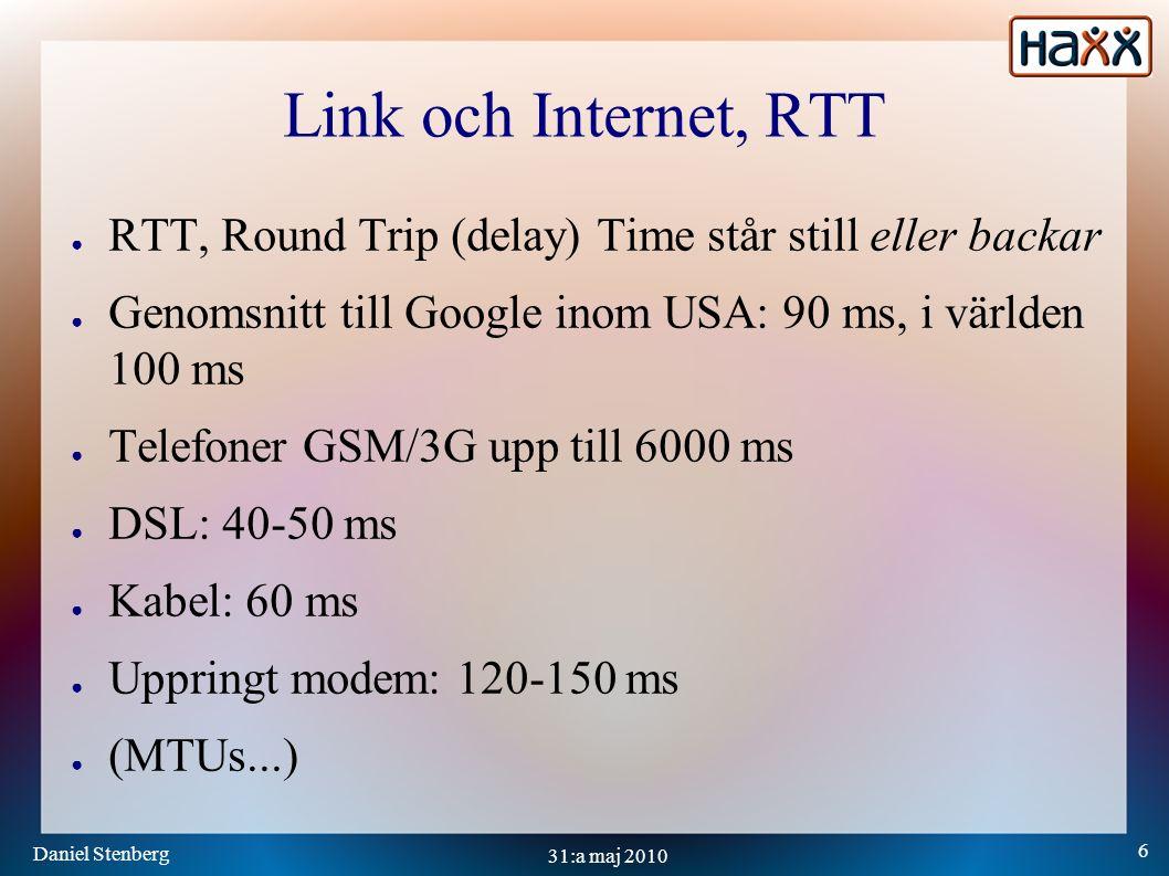 Daniel Stenberg 7 31:a maj 2010 TCP Transport: fördröjningar ● DNS resolveUndvik, cacha ● Handshake – 3 wayPool, återanvänd ● Nagle – vänta för att fylla på mer Kan stängas av ● Slow startVar medveten ● Delayed ACKsNär 2 är bättre än 1 Att optimera för mindre fördröjningar och kortare RTT kan leda till sämre throughput och bandbredd