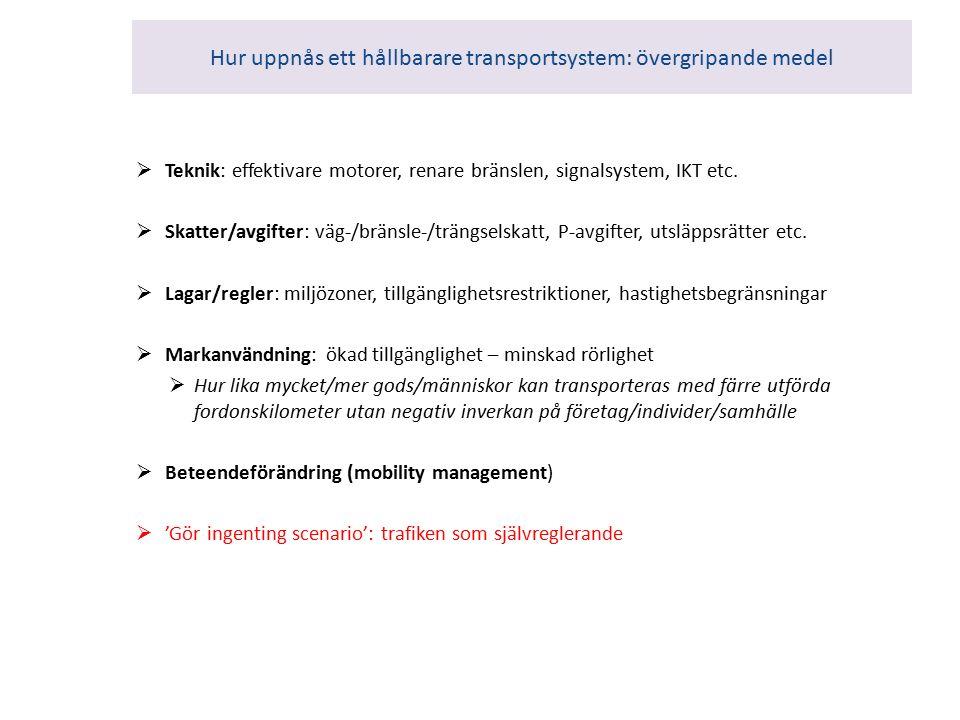 Hur uppnås ett hållbarare transportsystem: övergripande medel  Teknik: effektivare motorer, renare bränslen, signalsystem, IKT etc.