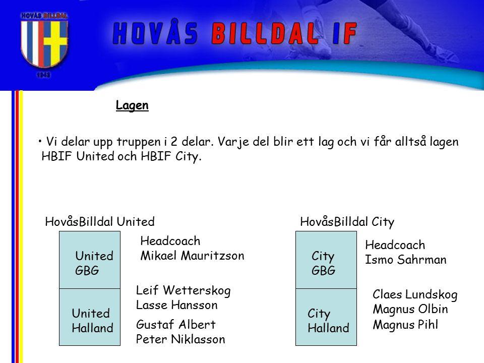 Lagen Vi delar upp truppen i 2 delar. Varje del blir ett lag och vi får alltså lagen HBIF United och HBIF City. United GBG United Halland Gustaf Alber