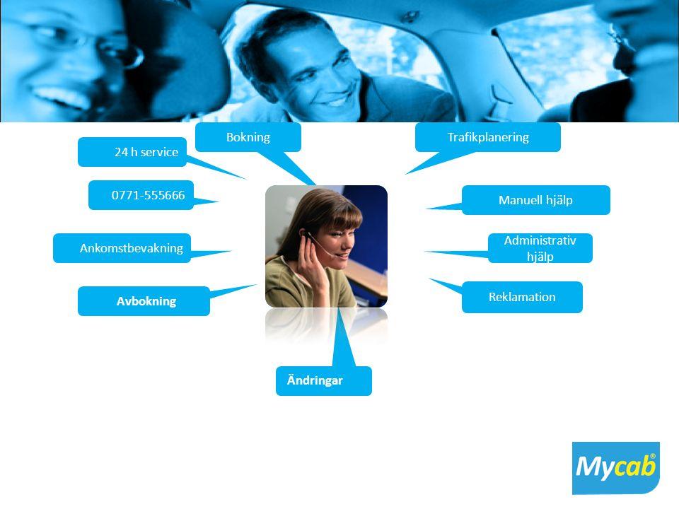 MYCAB Callcenter Bokning 24 h service 0771-555666 Ankomstbevakning Avbokning Ändringar Trafikplanering Manuell hjälp Administrativ hjälp Reklamation