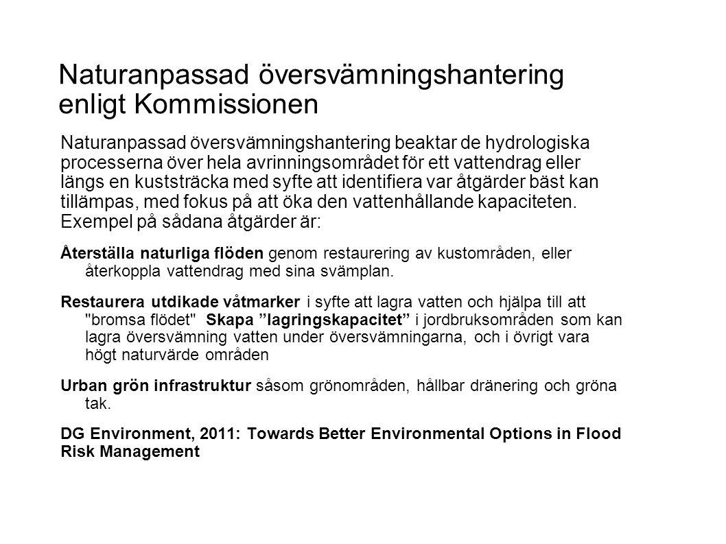 Naturanpassad översvämningshantering enligt Kommissionen Naturanpassad översvämningshantering beaktar de hydrologiska processerna över hela avrinningsområdet för ett vattendrag eller längs en kuststräcka med syfte att identifiera var åtgärder bäst kan tillämpas, med fokus på att öka den vattenhållande kapaciteten.