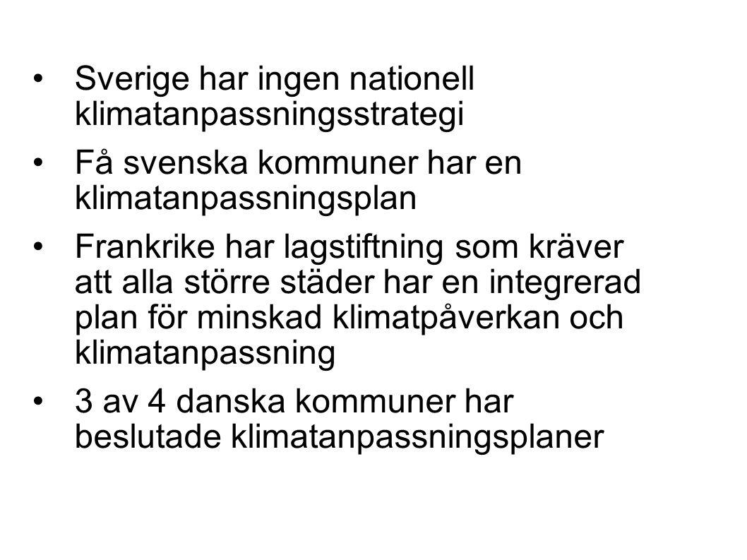 Sverige har ingen nationell klimatanpassningsstrategi Få svenska kommuner har en klimatanpassningsplan Frankrike har lagstiftning som kräver att alla större städer har en integrerad plan för minskad klimatpåverkan och klimatanpassning 3 av 4 danska kommuner har beslutade klimatanpassningsplaner