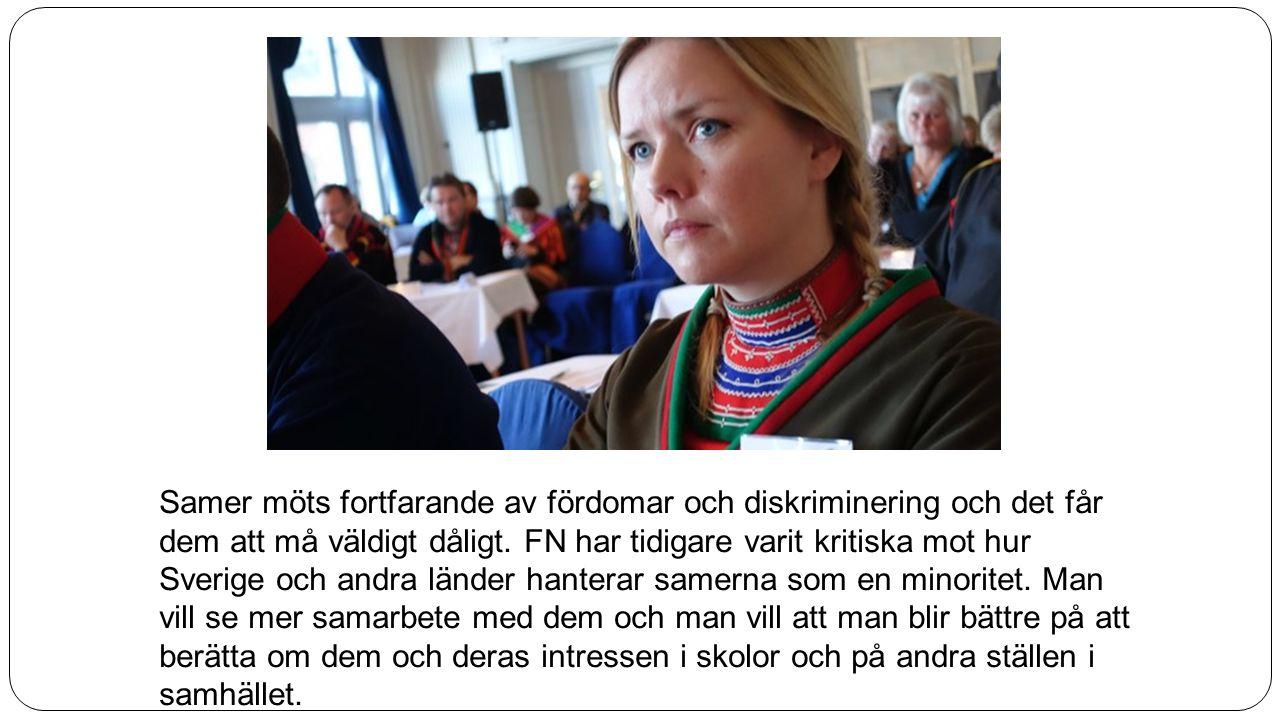 Samer möts fortfarande av fördomar och diskriminering och det får dem att må väldigt dåligt. FN har tidigare varit kritiska mot hur Sverige och andra