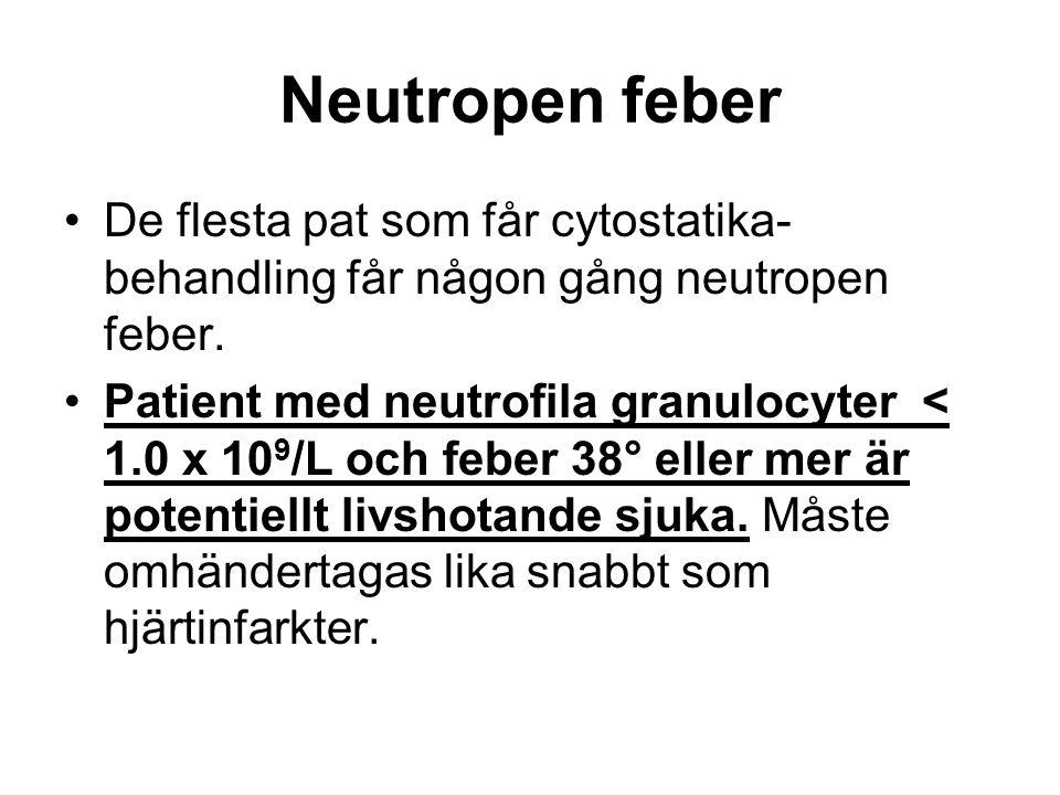 Neutropen feber De flesta pat som får cytostatika- behandling får någon gång neutropen feber.