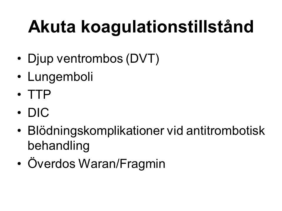 Akuta koagulationstillstånd Djup ventrombos (DVT) Lungemboli TTP DIC Blödningskomplikationer vid antitrombotisk behandling Överdos Waran/Fragmin