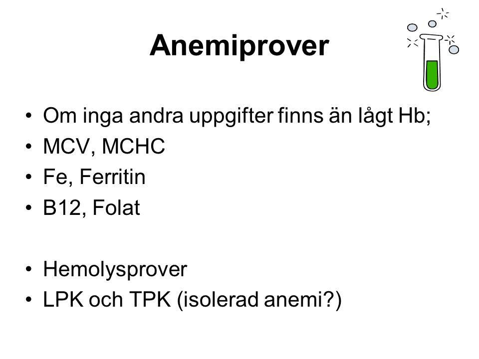 Anemiprover Om inga andra uppgifter finns än lågt Hb; MCV, MCHC Fe, Ferritin B12, Folat Hemolysprover LPK och TPK (isolerad anemi )