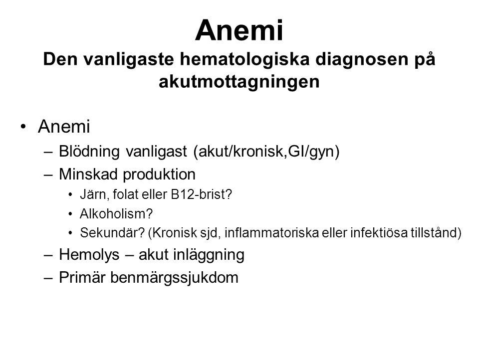 Anemi Den vanligaste hematologiska diagnosen på akutmottagningen Anemi –Blödning vanligast (akut/kronisk,GI/gyn) –Minskad produktion Järn, folat eller B12-brist.