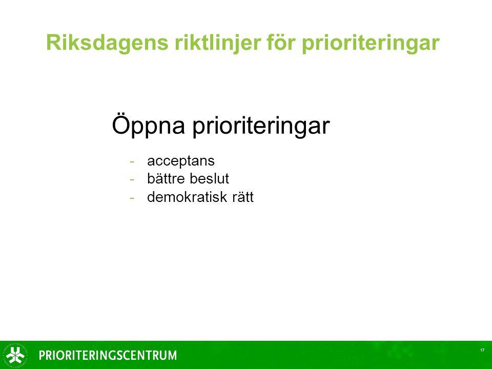 17 Riksdagens riktlinjer för prioriteringar Öppna prioriteringar -acceptans -bättre beslut -demokratisk rätt