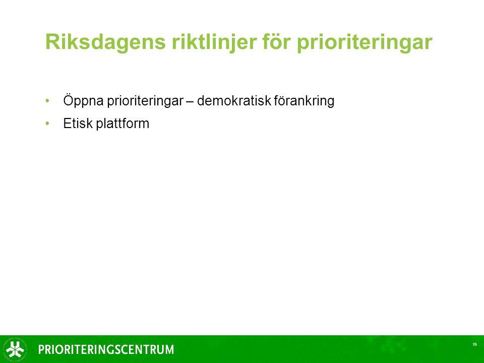 19 Riksdagens riktlinjer för prioriteringar Öppna prioriteringar – demokratisk förankring Etisk plattform