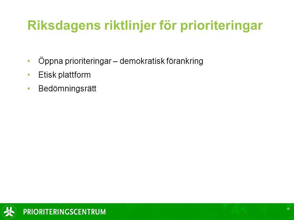 22 Riksdagens riktlinjer för prioriteringar Öppna prioriteringar – demokratisk förankring Etisk plattform Bedömningsrätt