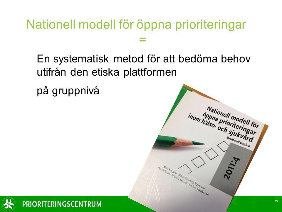 En systematisk metod för att bedöma behov utifrån den etiska plattformen på gruppnivå 29 Nationell modell för öppna prioriteringar =