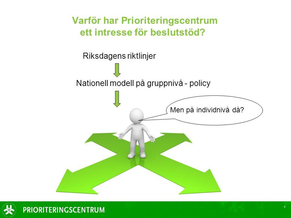 3 Varför har Prioriteringscentrum ett intresse för beslutstöd.