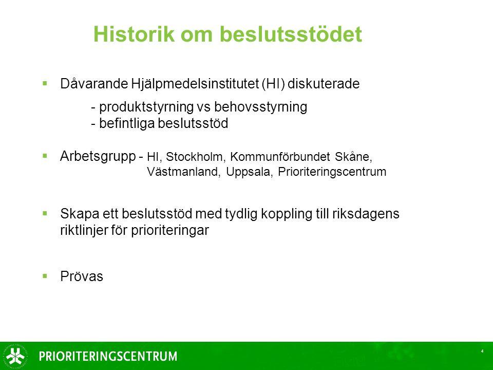 Historik om beslutsstödet  Dåvarande Hjälpmedelsinstitutet (HI) diskuterade - produktstyrning vs behovsstyrning - befintliga beslutsstöd  Arbetsgrupp - HI, Stockholm, Kommunförbundet Skåne, Västmanland, Uppsala, Prioriteringscentrum  Skapa ett beslutsstöd med tydlig koppling till riksdagens riktlinjer för prioriteringar  Prövas 4