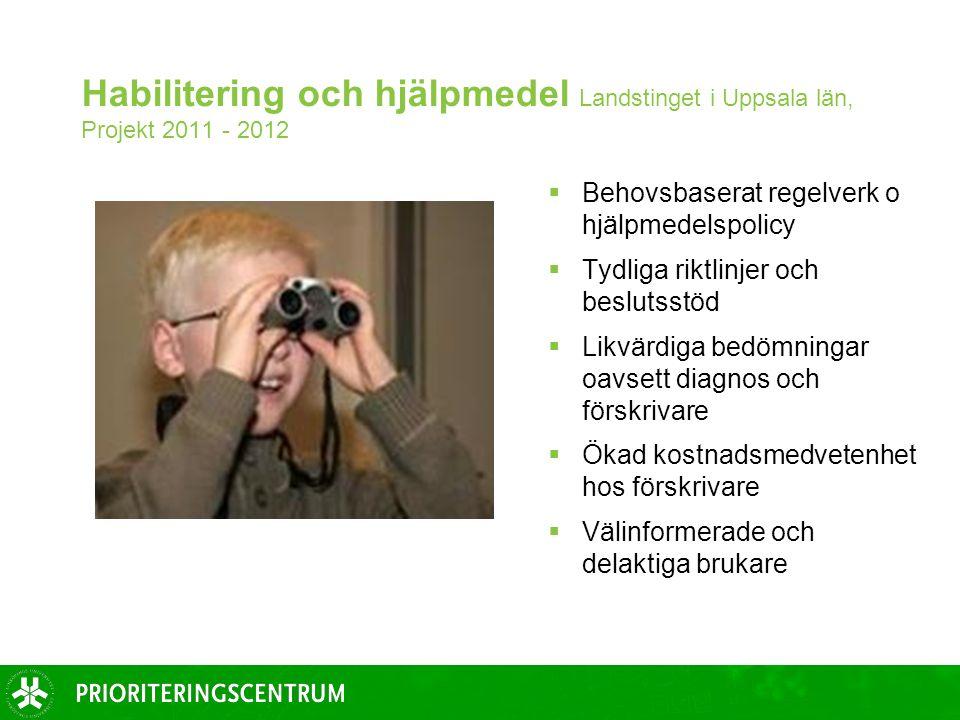 Habilitering och hjälpmedel Landstinget i Uppsala län, Projekt 2011 - 2012  Behovsbaserat regelverk o hjälpmedelspolicy  Tydliga riktlinjer och beslutsstöd  Likvärdiga bedömningar oavsett diagnos och förskrivare  Ökad kostnadsmedvetenhet hos förskrivare  Välinformerade och delaktiga brukare