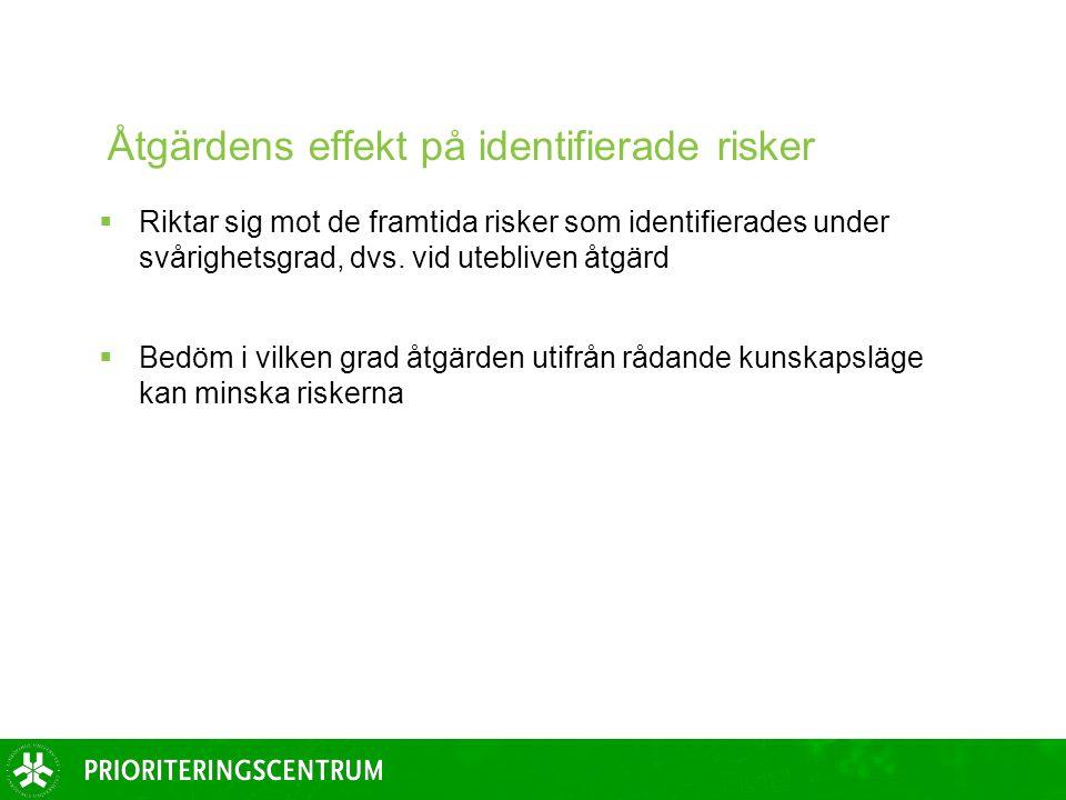 Åtgärdens effekt på identifierade risker  Riktar sig mot de framtida risker som identifierades under svårighetsgrad, dvs.