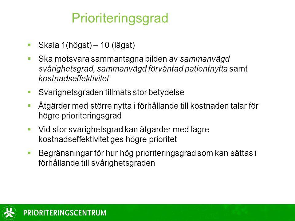 Prioriteringsgrad  Skala 1(högst) – 10 (lägst)  Ska motsvara sammantagna bilden av sammanvägd svårighetsgrad, sammanvägd förväntad patientnytta samt kostnadseffektivitet  Svårighetsgraden tillmäts stor betydelse  Åtgärder med större nytta i förhållande till kostnaden talar för högre prioriteringsgrad  Vid stor svårighetsgrad kan åtgärder med lägre kostnadseffektivitet ges högre prioritet  Begränsningar för hur hög prioriteringsgrad som kan sättas i förhållande till svårighetsgraden