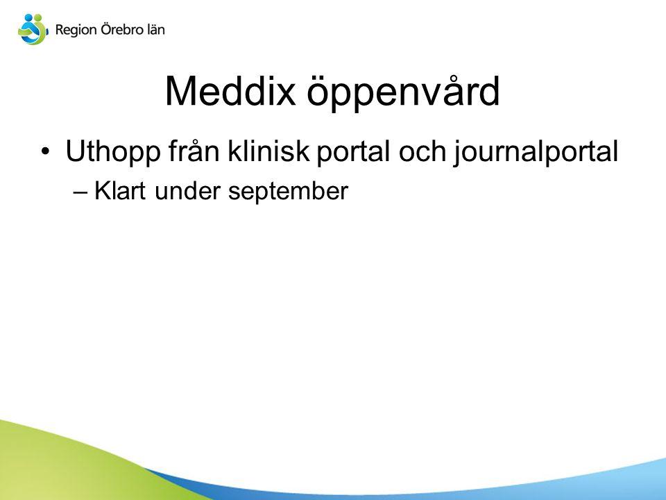 Meddix öppenvård Uthopp från klinisk portal och journalportal –Klart under september