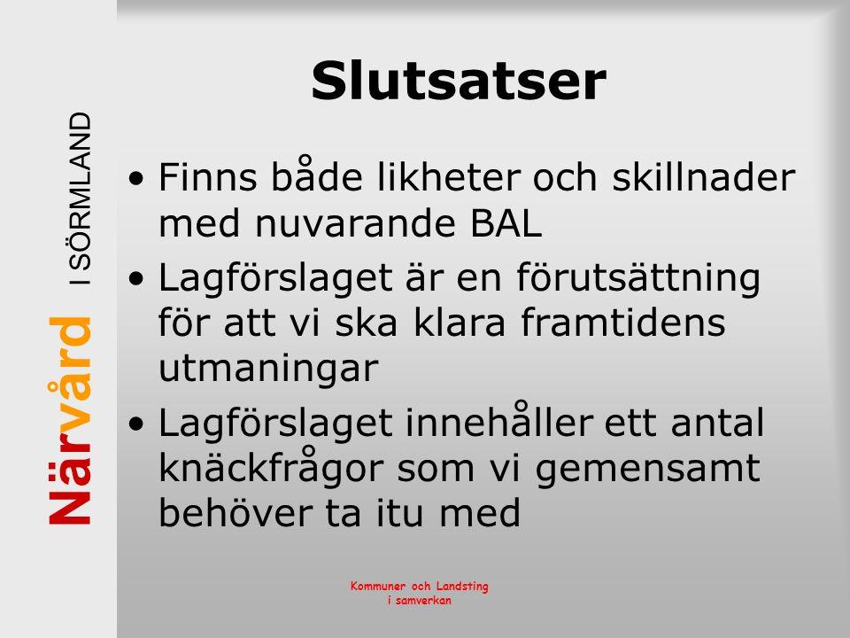 När vård I SÖRMLAND Kommuner och Landsting i samverkan Slutsatser Finns både likheter och skillnader med nuvarande BAL Lagförslaget är en förutsättnin