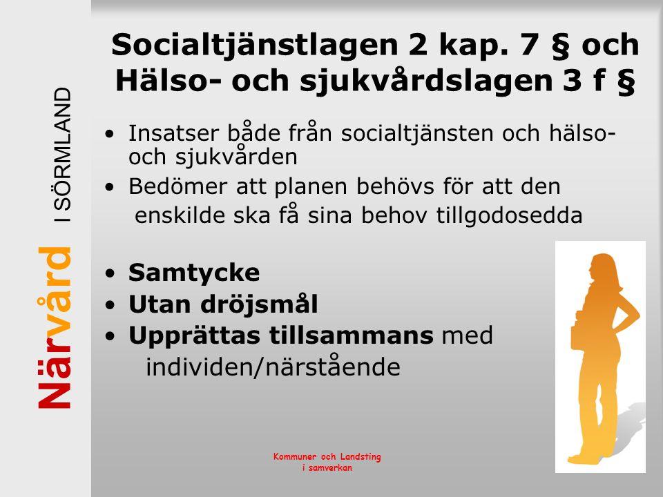 När vård I SÖRMLAND Kommuner och Landsting i samverkan Socialtjänstlagen 2 kap. 7 § och Hälso- och sjukvårdslagen 3 f § Insatser både från socialtjäns