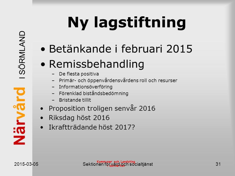 När vård I SÖRMLAND Kommuner och Landsting i samverkan Ny lagstiftning Betänkande i februari 2015 Remissbehandling –De flesta positiva –Primär- och öp