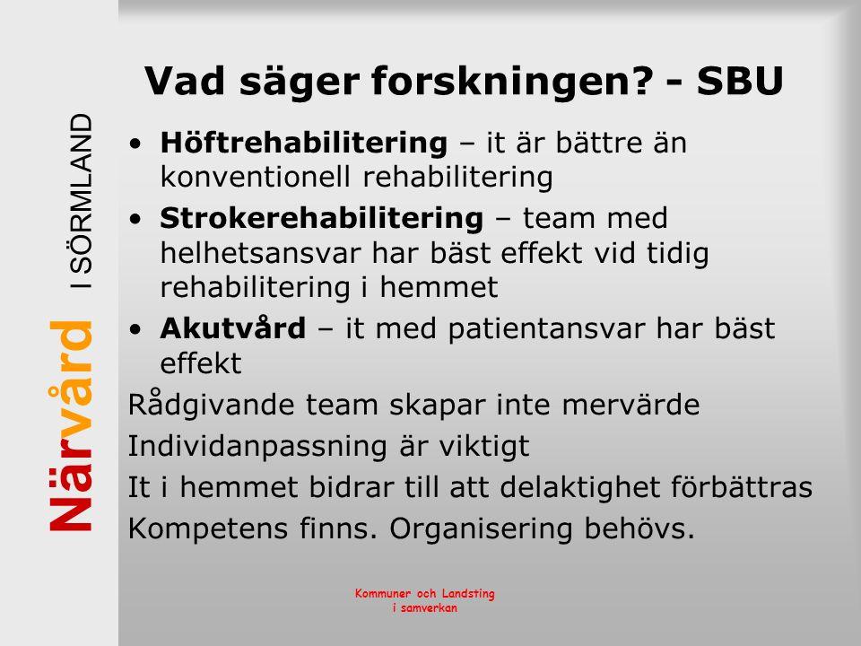 När vård I SÖRMLAND Kommuner och Landsting i samverkan Vad säger forskningen? - SBU Höftrehabilitering – it är bättre än konventionell rehabilitering