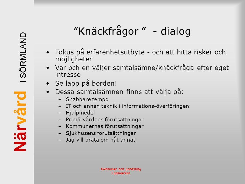 När vård I SÖRMLAND Kommuner och Landsting i samverkan Knäckfrågor - dialog Fokus på erfarenhetsutbyte - och att hitta risker och möjligheter Var och en väljer samtalsämne/knäckfråga efter eget intresse Se lapp på borden.