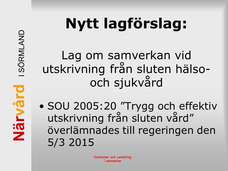 """När vård I SÖRMLAND Kommuner och Landsting i samverkan Nytt lagförslag: Lag om samverkan vid utskrivning från sluten hälso- och sjukvård SOU 2005:20 """""""