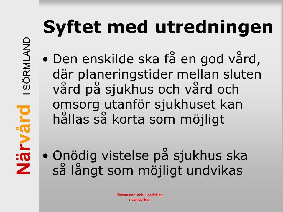 När vård I SÖRMLAND Kommuner och Landsting i samverkan Syftet med utredningen Den enskilde ska få en god vård, där planeringstider mellan sluten vård
