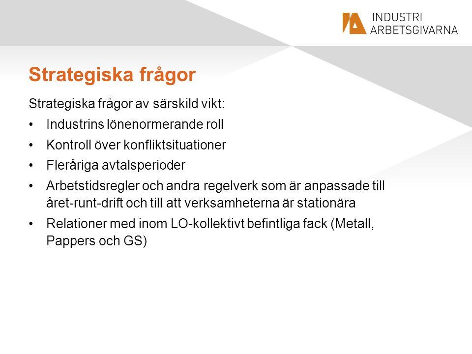 Strategiska frågor Strategiska frågor av särskild vikt: Industrins lönenormerande roll Kontroll över konfliktsituationer Fleråriga avtalsperioder Arbe