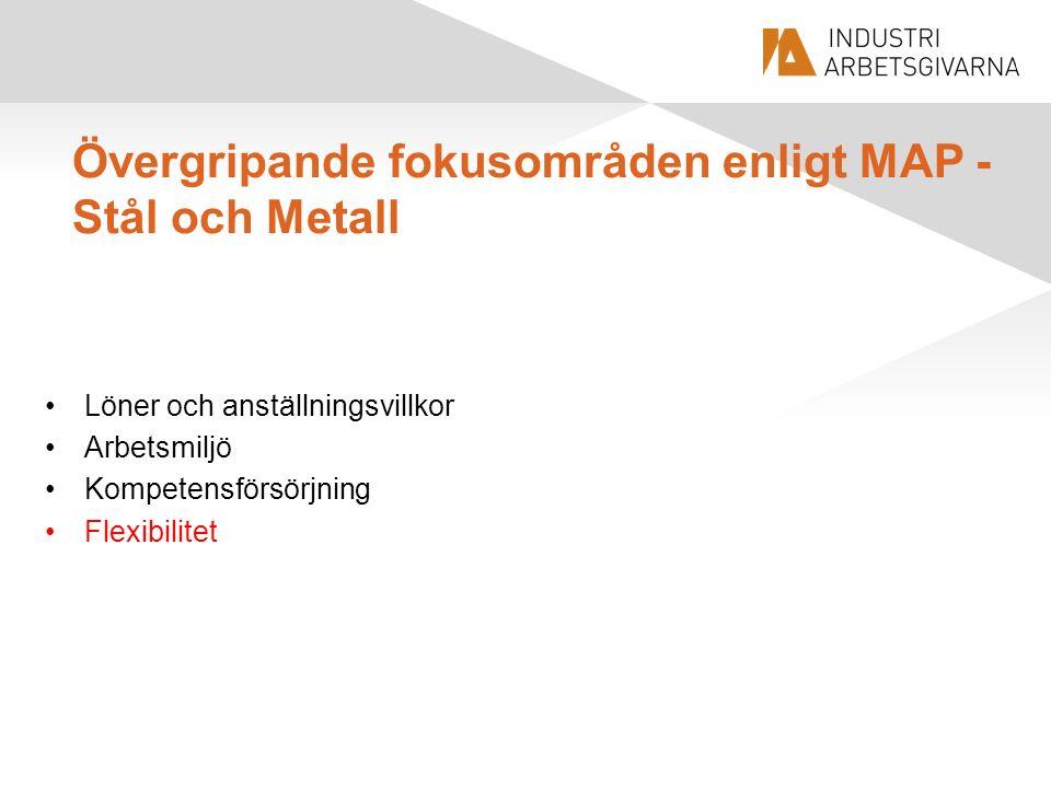 Övergripande fokusområden enligt MAP - Stål och Metall Löner och anställningsvillkor Arbetsmiljö Kompetensförsörjning Flexibilitet