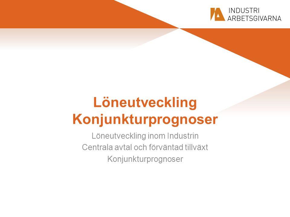 Löneutveckling Konjunkturprognoser Löneutveckling inom Industrin Centrala avtal och förväntad tillväxt Konjunkturprognoser