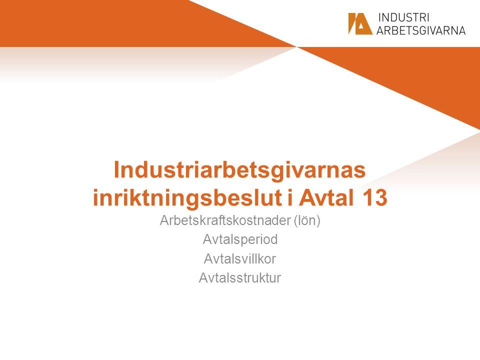 Industriarbetsgivarnas inriktningsbeslut i Avtal 13 Arbetskraftskostnader (lön) Avtalsperiod Avtalsvillkor Avtalsstruktur