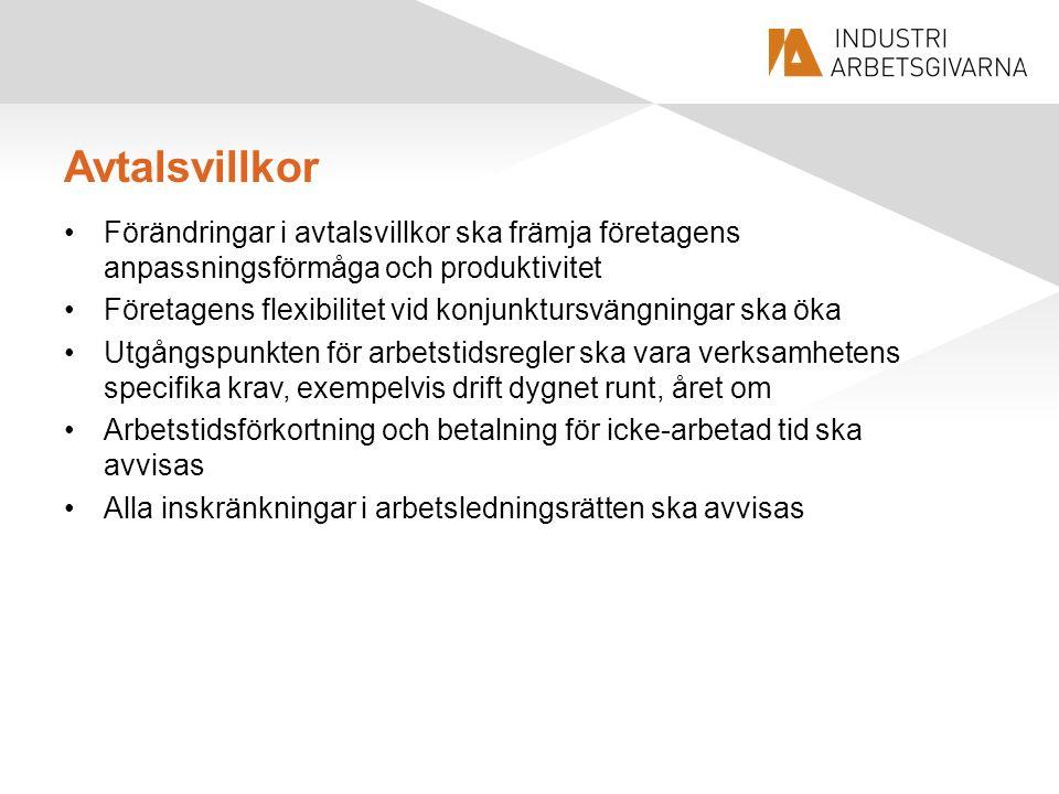 Avtalsvillkor Förändringar i avtalsvillkor ska främja företagens anpassningsförmåga och produktivitet Företagens flexibilitet vid konjunktursvängninga