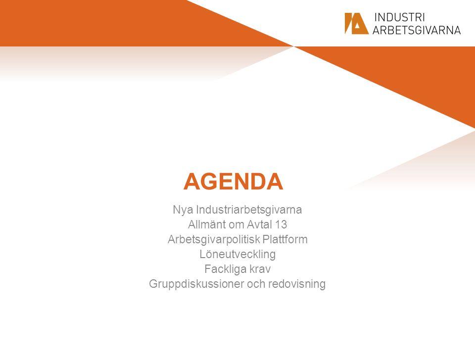 AGENDA Nya Industriarbetsgivarna Allmänt om Avtal 13 Arbetsgivarpolitisk Plattform Löneutveckling Fackliga krav Gruppdiskussioner och redovisning