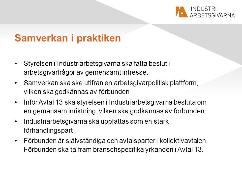 Samverkan i praktiken Styrelsen i Industriarbetsgivarna ska fatta beslut i arbetsgivarfrågor av gemensamt intresse. Samverkan ska ske utifrån en arbet